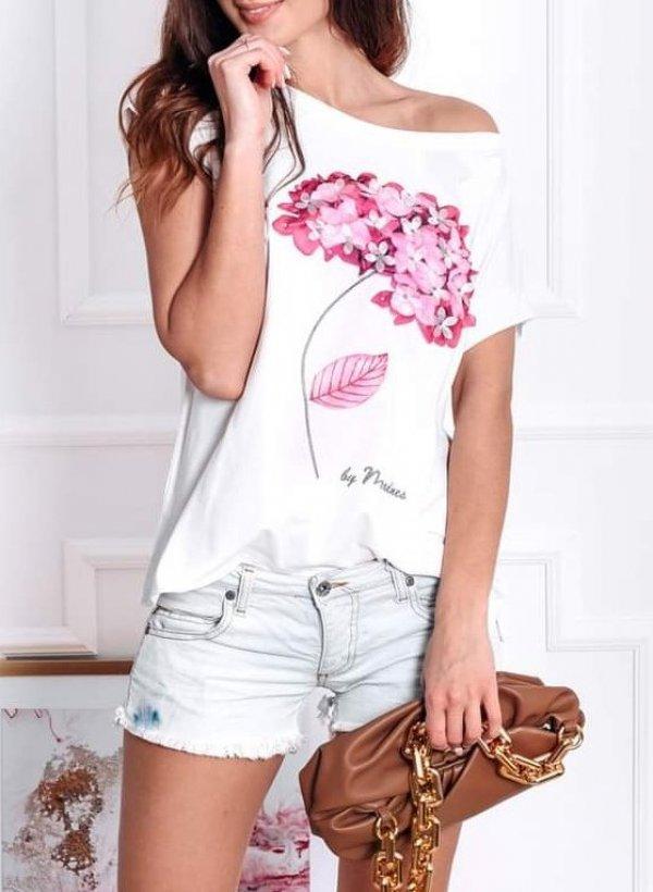 T-shirt z aplikacją kwiaty biała