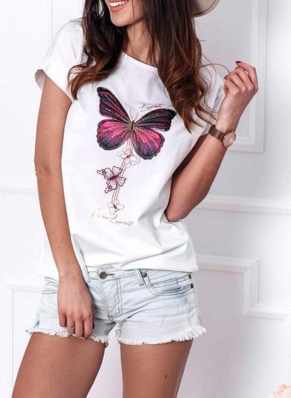 T-shirt z aplikacją motylka biała