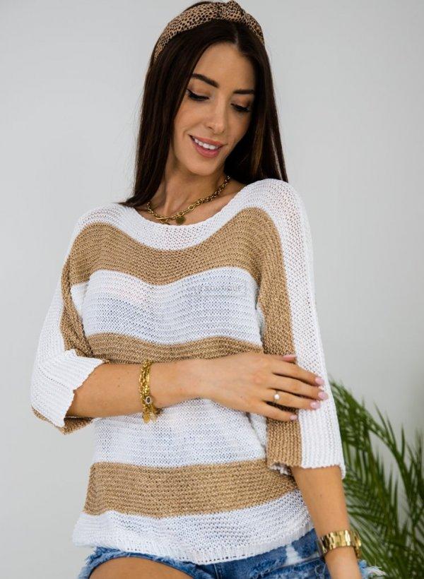 Sweter w złote pasy Eteri biały