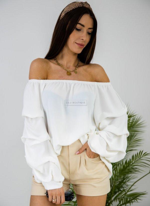 Bluzka hiszpanka z ozdobnym rękawem Alba biała