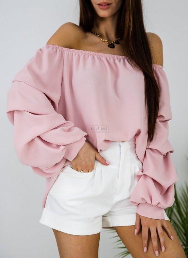 Bluzka hiszpanka z ozdobnym rękawem Alba pudrowy róż