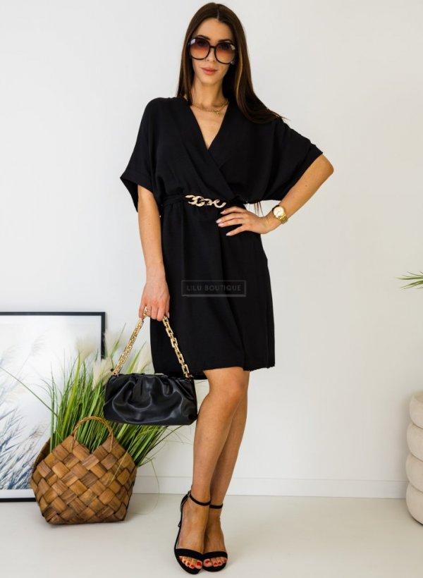 Sukienka z ozdobnym łańcuchem czarna