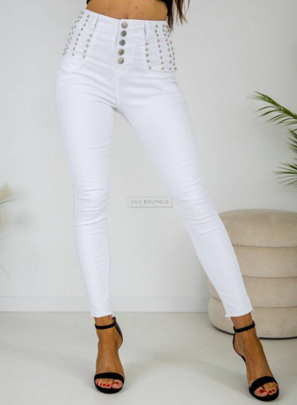 Spodnie Push Up z dżetami Terni białe