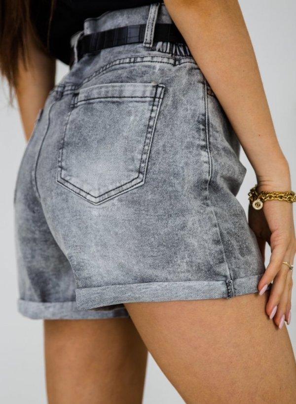 Szorty jeansowe z paskiem Fabriano szare