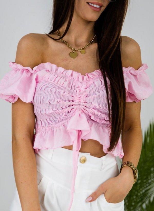 Bluzka top typu hiszpanka Mollin róż