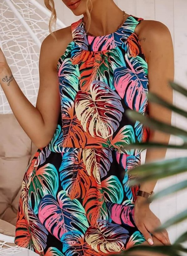 Sukienka Tifi liście multicolor