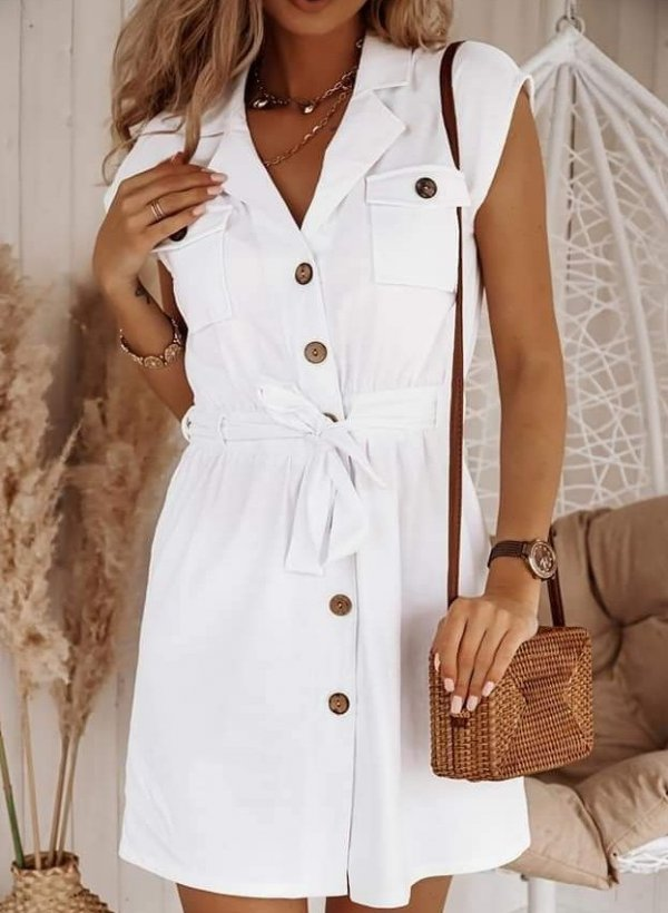 Sukienka lniana Lonnie biała