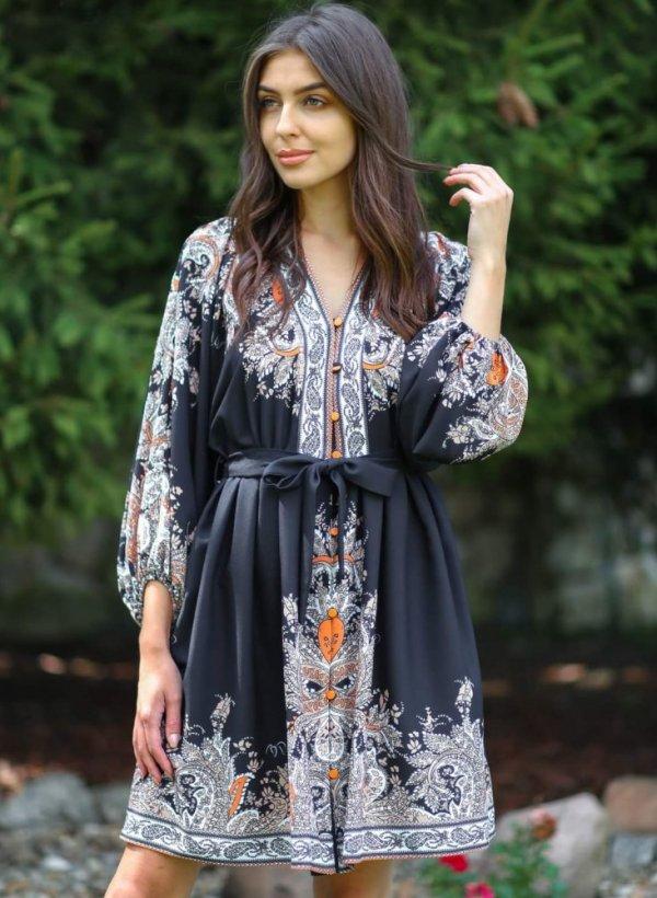 Sukienka z wzorem Estera pomarańcz