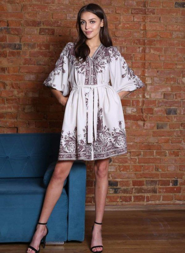 Sukienka z wzorem Estera beż