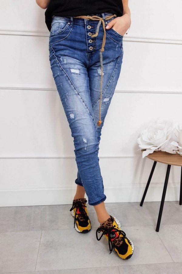 Spodnie jeansowe z paskiem sznurkowym Ocean
