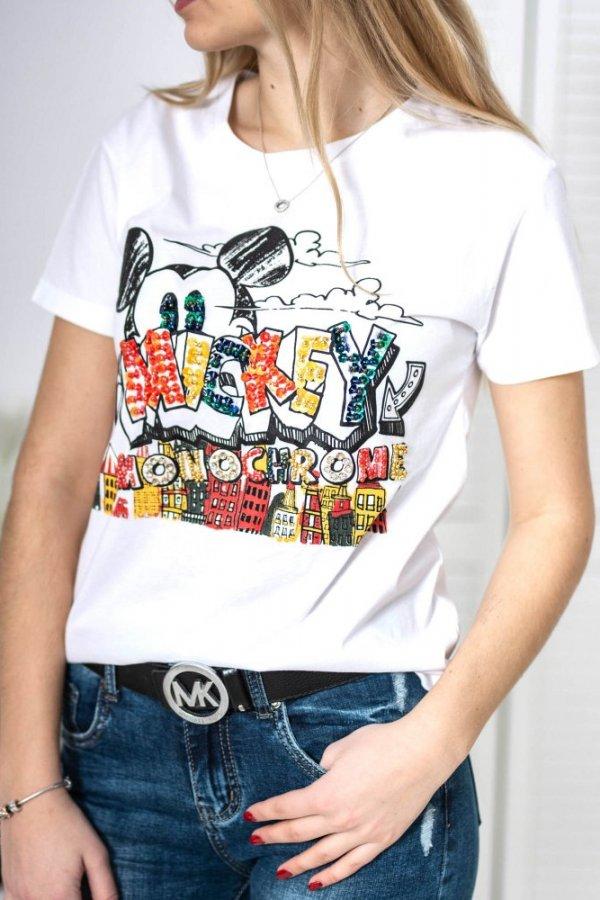 T-shirt monochrome Mickey biały