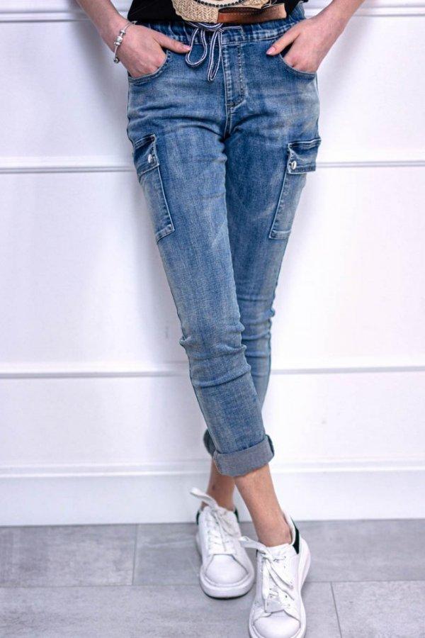 Spodnie jeansy bojówki z troczkiem