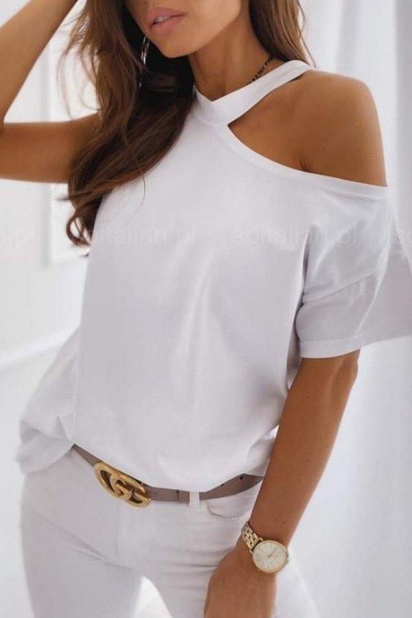 T-shirt Asymethric biała