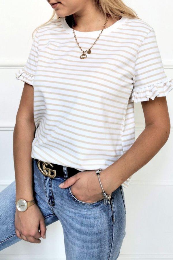 Bluzka Ferrara paseczki beżowo-biała