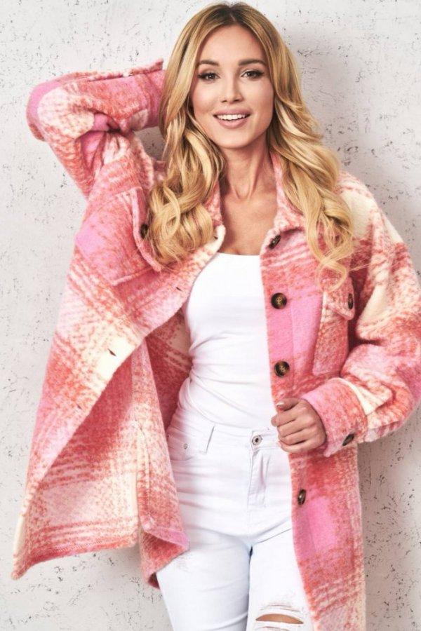 Płaszcz/koszula w kratkę Daxi orange/pink