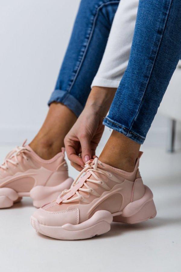 Sportowe buty na grubej podeszwie Coblay pink