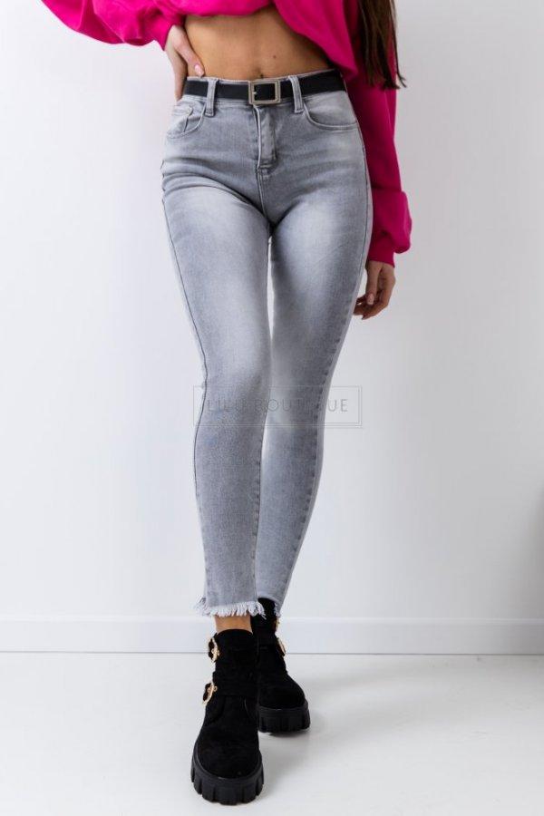 Spodnie jeansowe Yon z paskiem Push up szare