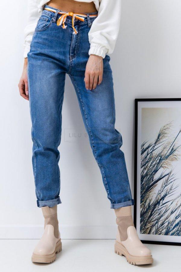 Spodnie jeansowe Slouchy z neonowym paseczkiem