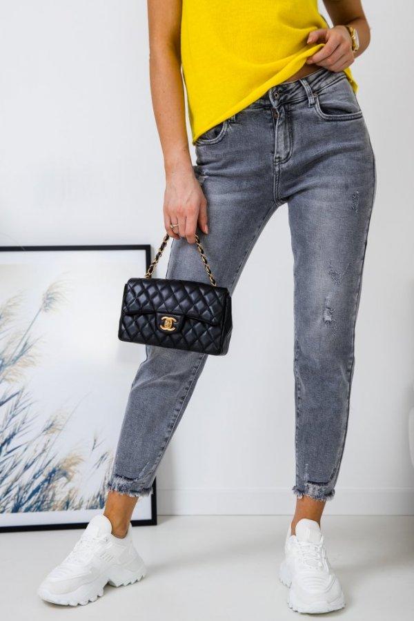 Spodnie jeansowe Grasse ze strzępioną nogawką szare