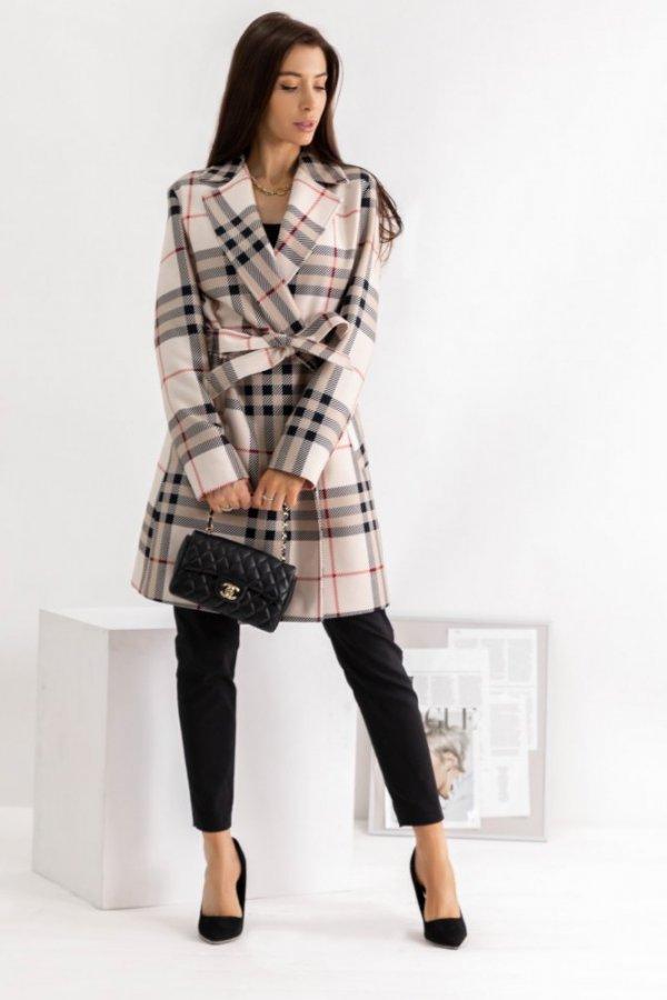 Płaszcz wiązany w kratkę Parma
