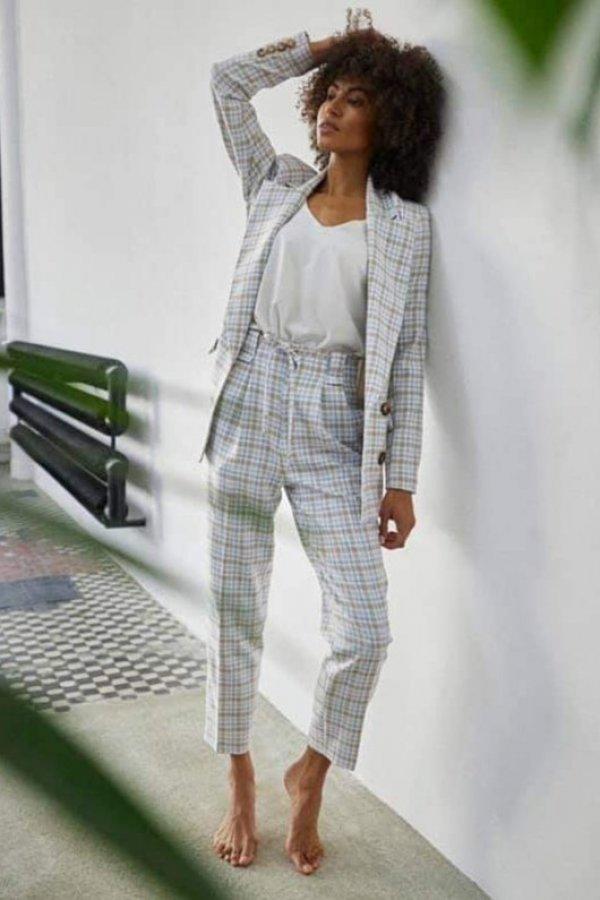 Spodnie eleganckie Picardy krateczka blue/beige komplet