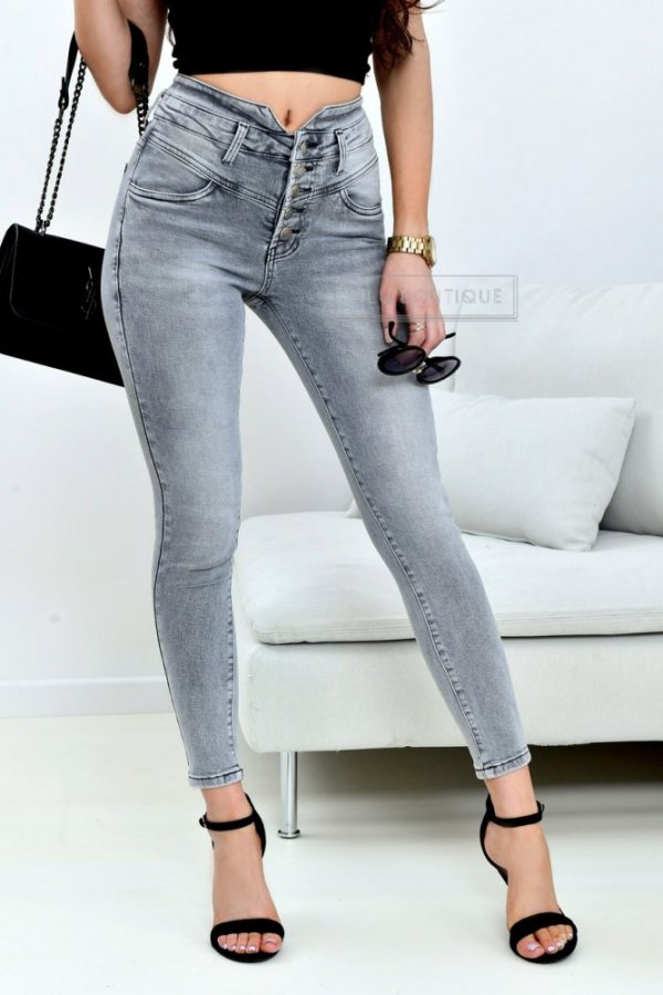 Spodnie z wysokim stanem Prato grey jeans