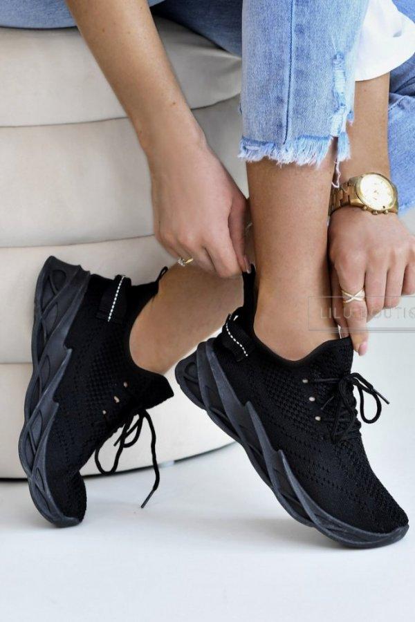 Sportowe buty na grubej podeszwie Fitme czarne