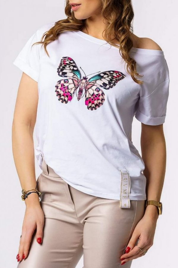 T-shirt Butterfly white