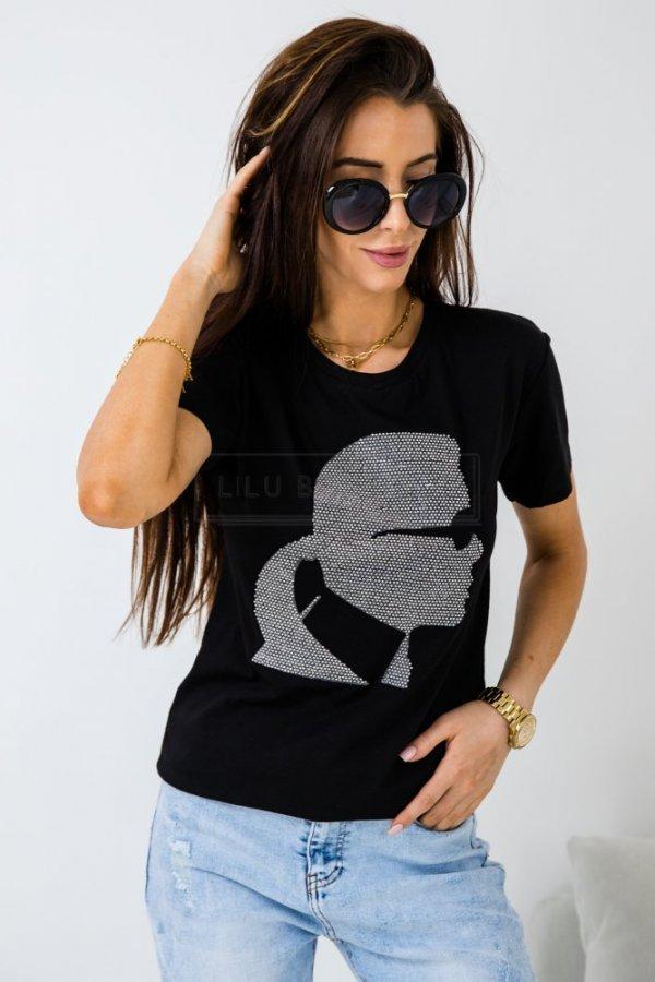 T-shirt Carllo cyrkonie czarny