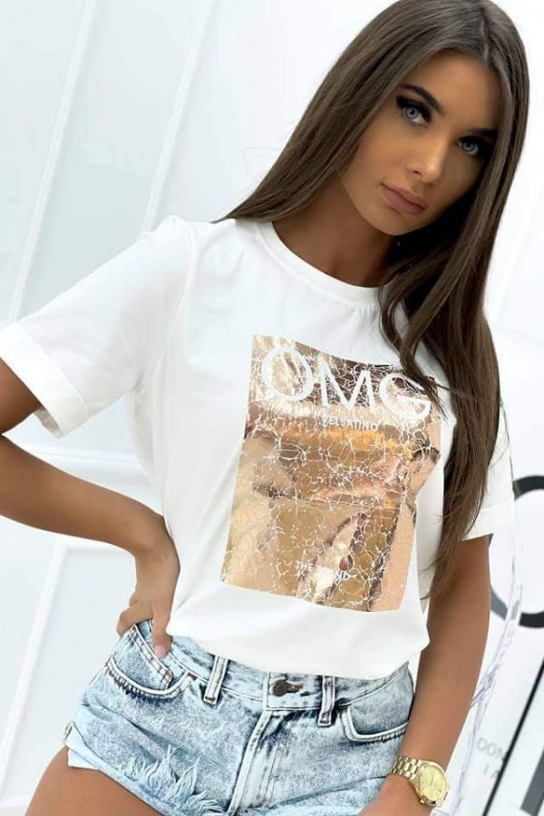 T-shirt OMG biały