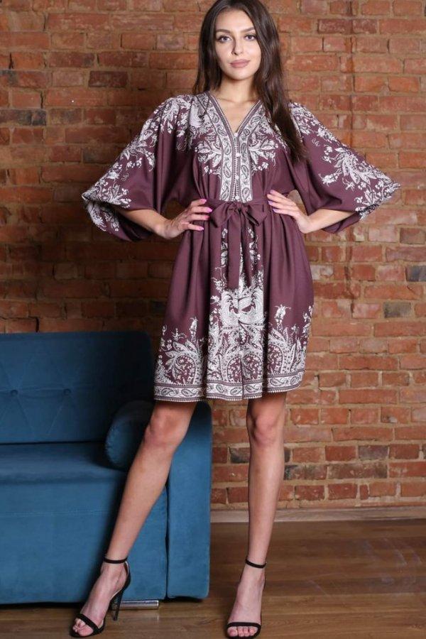 Sukienka z wzorem Estera brąz