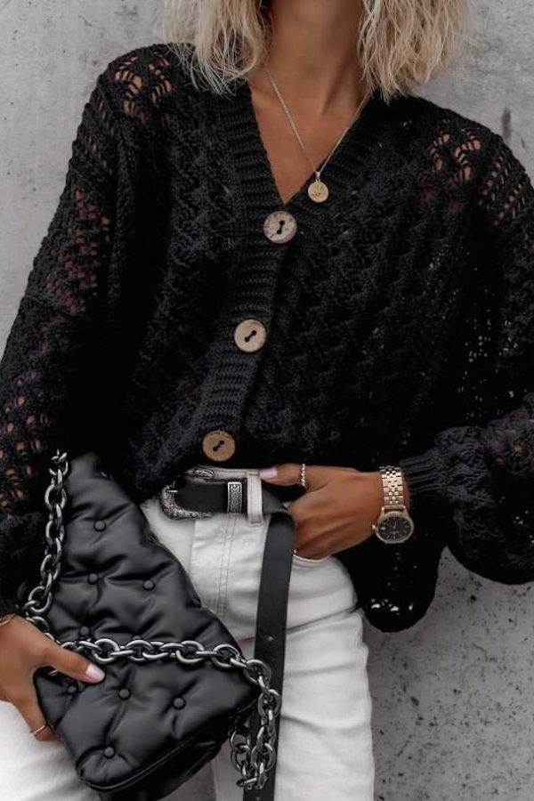 Sweter ażurkowy Monique czarny