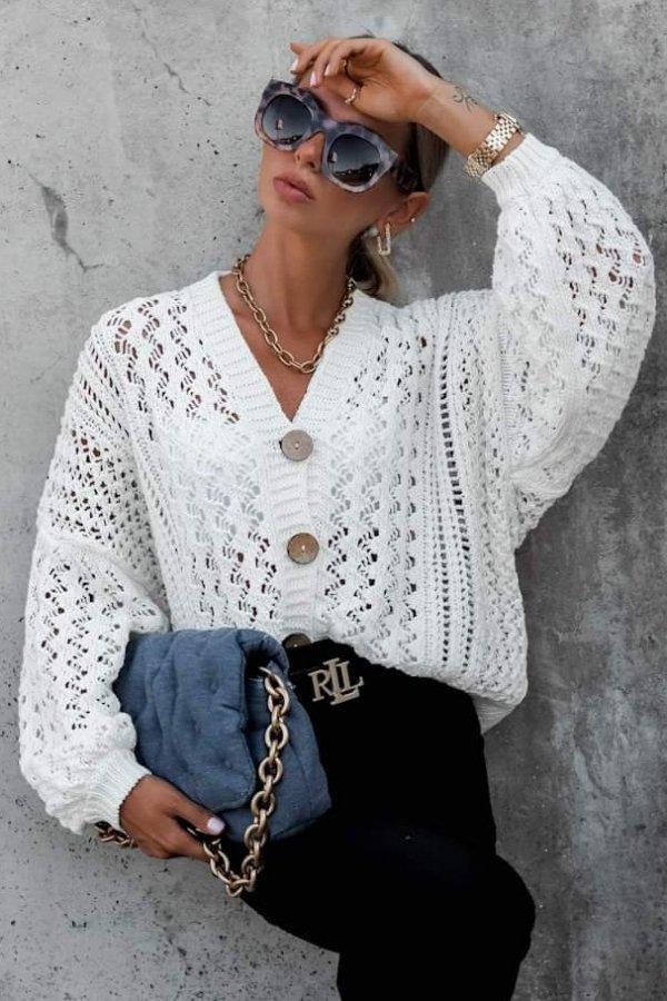 Sweter ażurkowy Monique kremowy