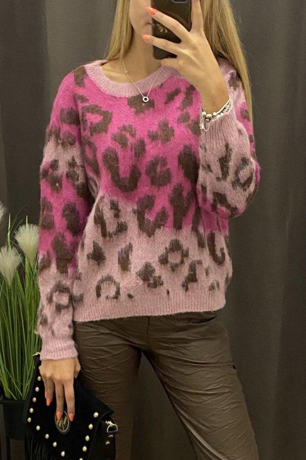 Sweter w cętki Pink Panhter róż