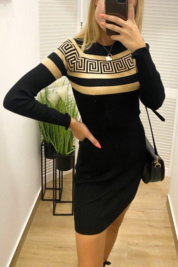Sukienka sweterkowa Geometric beż/czarny