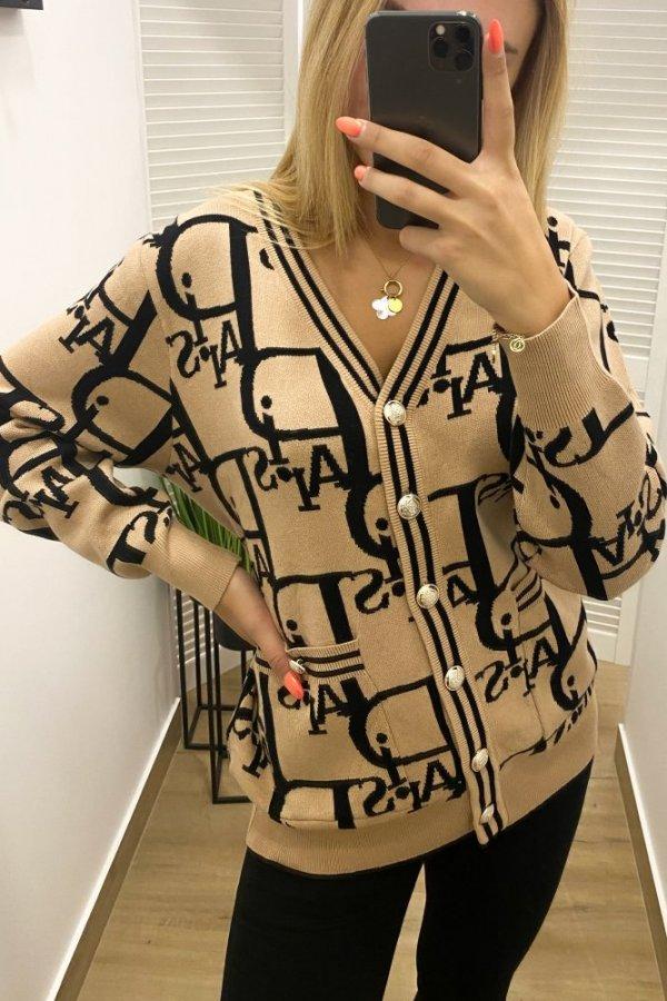 Sweter rozpinany Paris beż/czarny