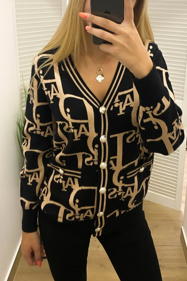 Sweter rozpinany Paris czarny/beż