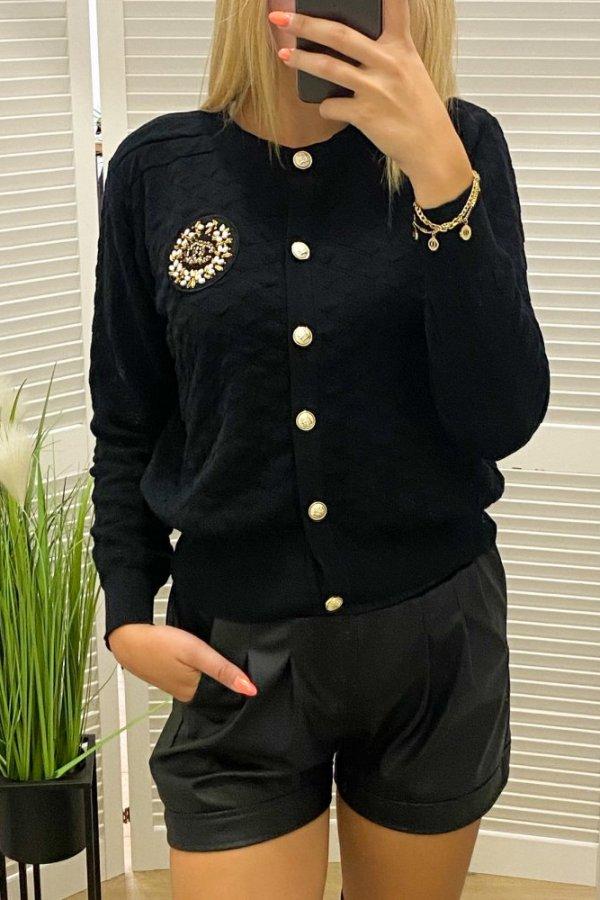 Bluza z tłoczonego materiału Pilou czarna