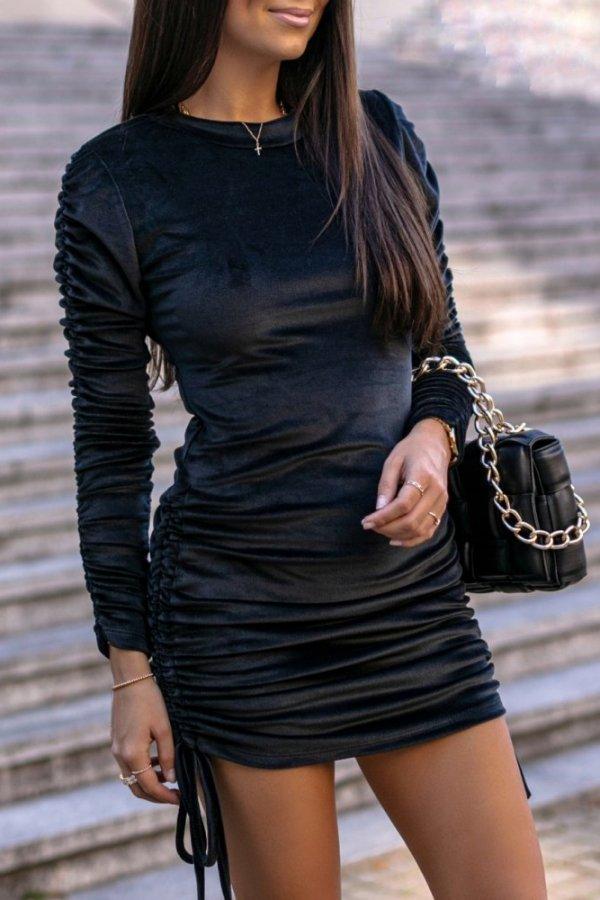 Sukienka welurowa Spezia czarna