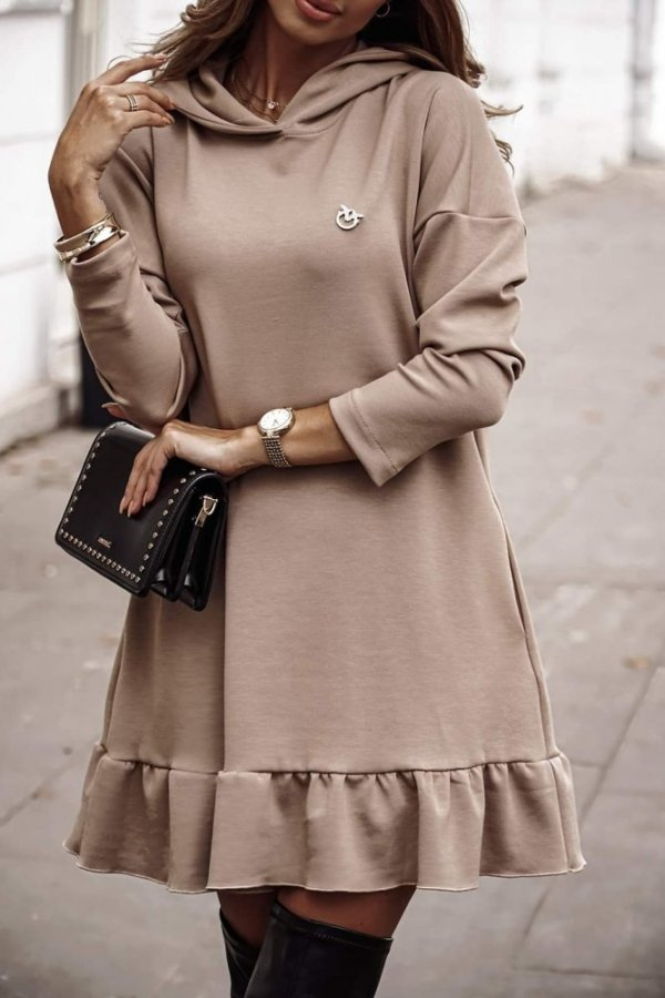 Sukienka z przypinką Torino beż