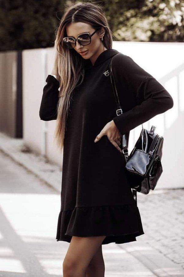 Sukienka z przypinką Torino czarna