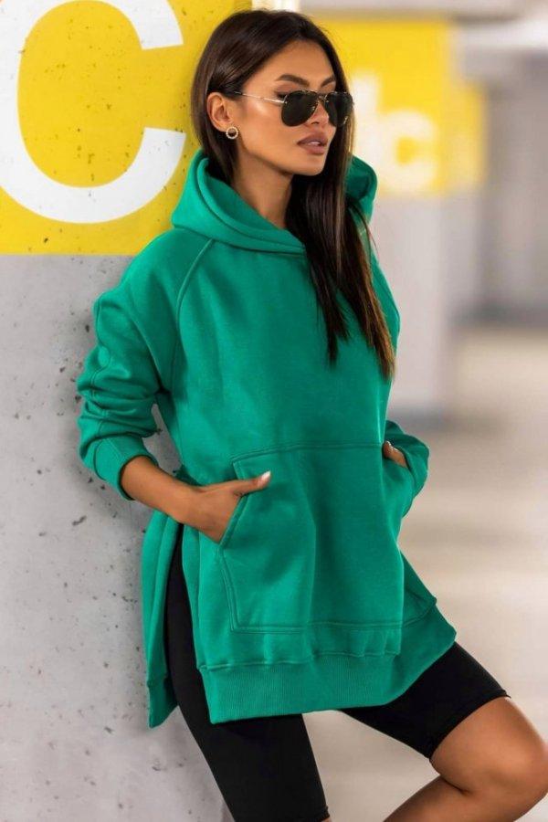 Bluza z kapturem long Trust green