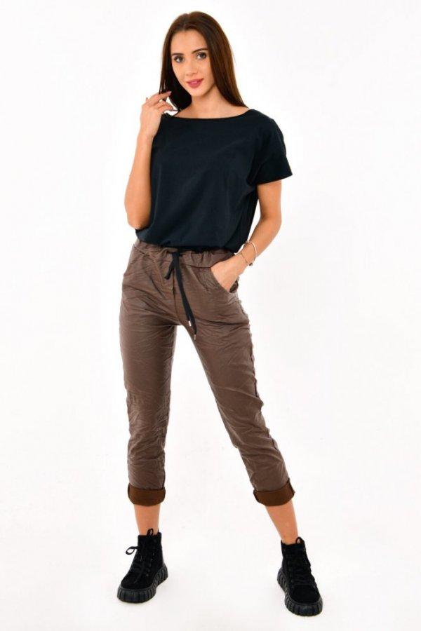 Spodnie z eco-skórki Bambini czekolada