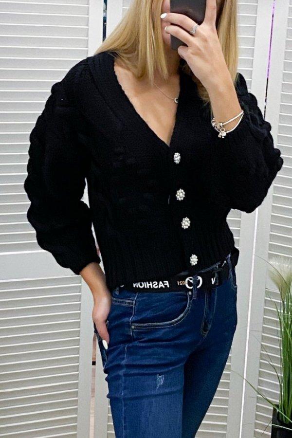 Sweter Evry czarny na guziki
