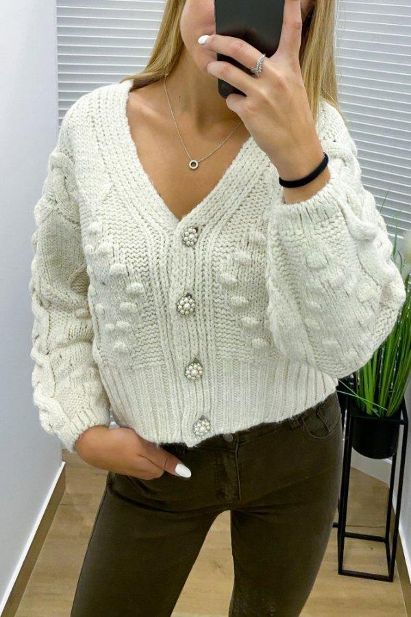 Sweter Evry beżowy na guziki