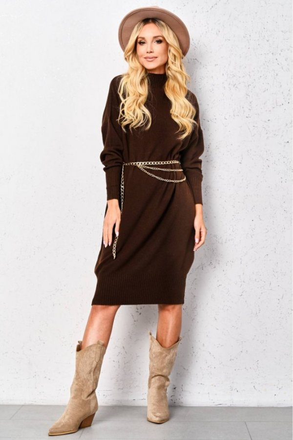 Sukienka sweterkowa Alma brąz