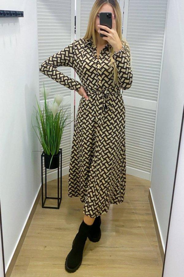 Sukienka midi Coreale we wzory czarny/beż