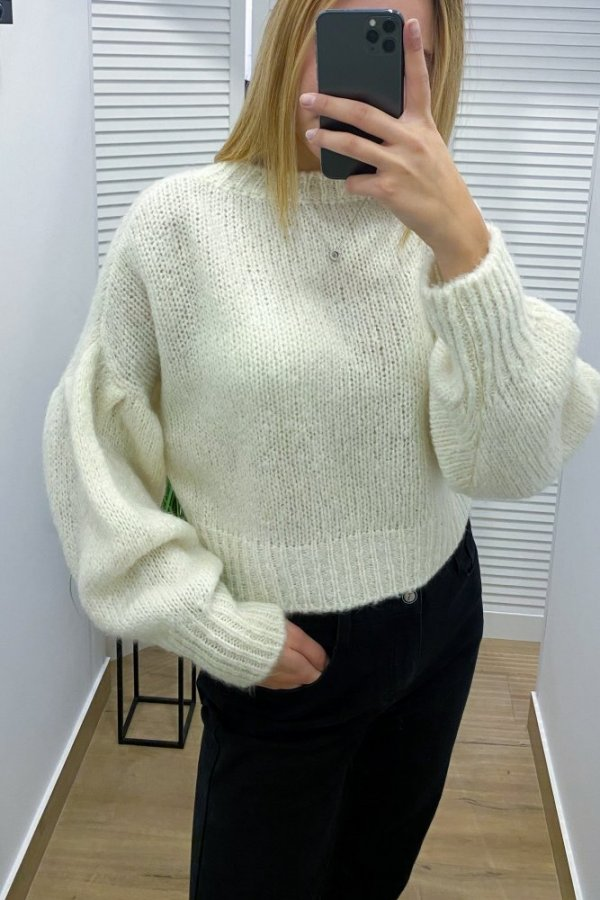 Sweter krótki Velletri kremowy